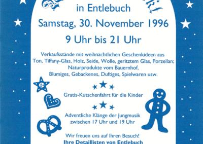 1996 Plakat 2. Weihnachtsmarkt Entlebuch