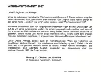 1997 Einladung zur Besprechung Weihnachtsmarkt Entlebuch