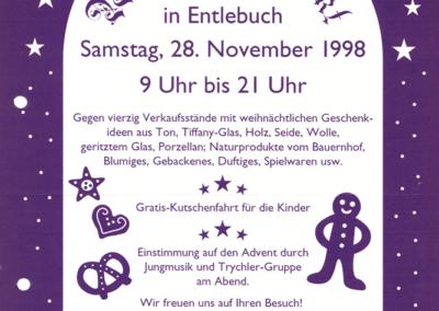 1998 Plakat 3. Weihnachtsmarkt Entlebuch