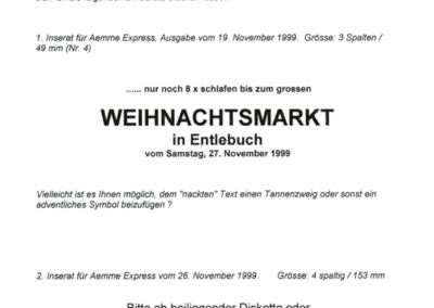 1999 Manuskript für Inserat 4. Weihnachtsmarkt im Ämme Express