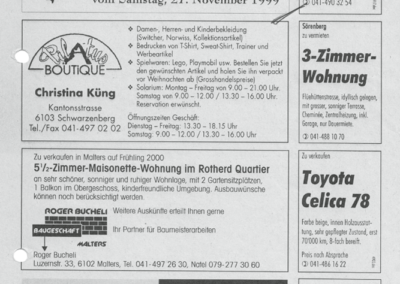 1999 Umgesetztes Inserat für 4. Weihnachtsmarkt im Ämme Express