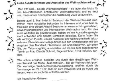 2002 Brief an Aussteller