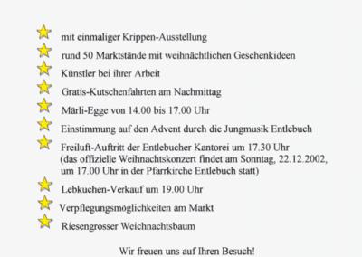 2002 Flugblatt 8. Weihnachtsmarkt Entlebuch