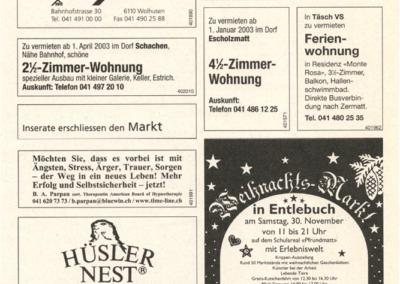 2002 Inserat 8. Weihnachtsmarkt Entlebuch im Ämme Express